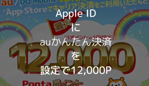 Apple IDの支払い方法にauかんたん決済をはじめて設定で12,000Pontaポイント